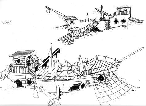 Großes Spielschiff Rückseite