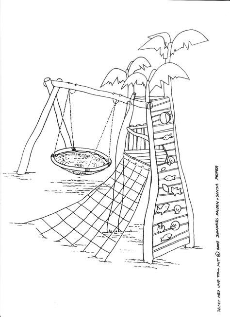 Turm mit Vogelnestschaukel